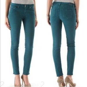 Paige teal skinny jeans stretch midrise